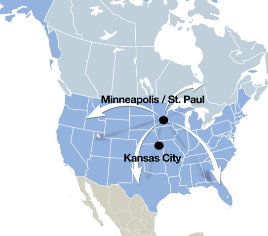 Consolidated Container Company About Us - Minneapolis-on-us-map